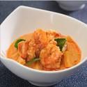Gambas con curry rojo