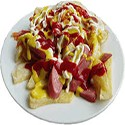 Salchipapas (Potatoes, Cheese, Chicken, Bacon and Sausage)