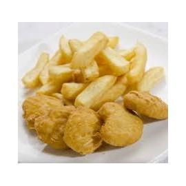 Nuggets de pollo con patatas fritas