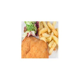 Breaded Steak Salad and Chips