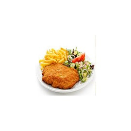 Pollo Emapanado con ensalada y fritas
