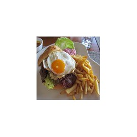 Burger with Egg and Chips