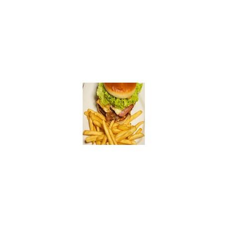 Hamburguesa con queso y bacon y fritas