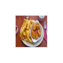 Gambas-scampi y patatas fritas