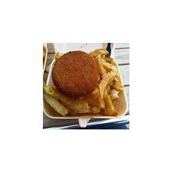 Fishcake y patatas fritas