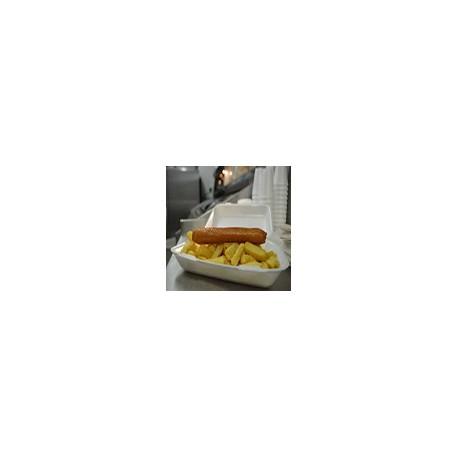 2 Salchichas y patatas fritas