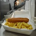 2 Battered sausage and chips