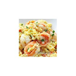 Scrambled Eggs with Mushrooms and Shrimps