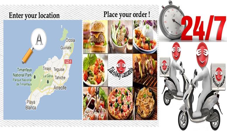 Comida a domicilio Lanzarote. Comida para llevar in Lanzarote, reparto de comida con gran variedad de menús de los restaurantes que ofrecen Pizza, Kebabs, comida china, india, tailandesa, italiana, canaria, española y mucho más.