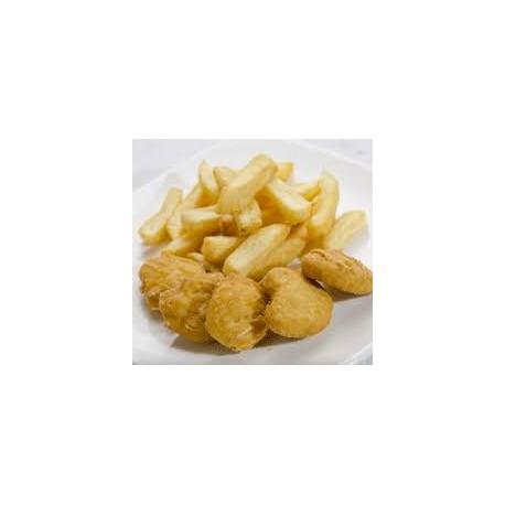 Nuggets de Pollo , Patatas Fritas y Ensalada
