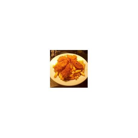 Pollo Goujons , Patatas Fritas y Ensalada