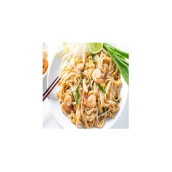 Phad Thai (spicy noodles with prawns ,vegetables and peanuts)