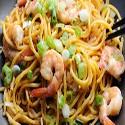 King prawn in crispy noodle bowls
