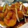 Langostinos y pollo con salsa china