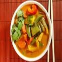 Verduras con curry rojo tailandés