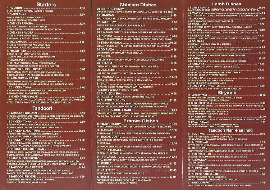 royal india menu costa teguise takeaway lanzarote