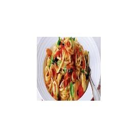 Spaghetti Garlic, Salmon, Mushrooms and Prawns